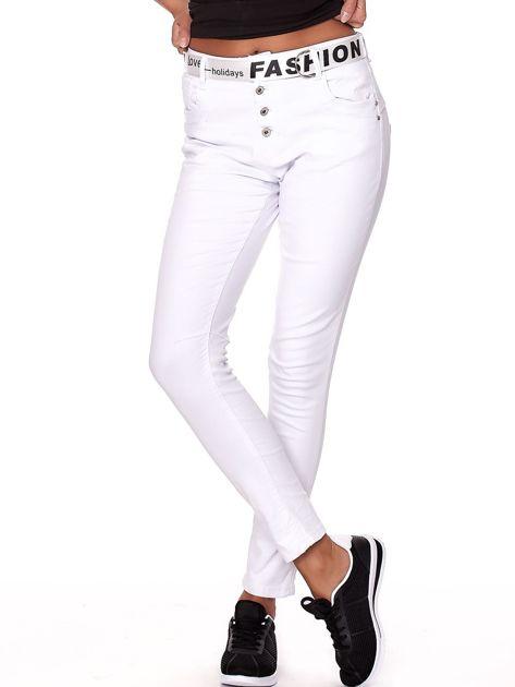 Białe spodnie jeansowe rurki z wyższym stanem                              zdj.                              5
