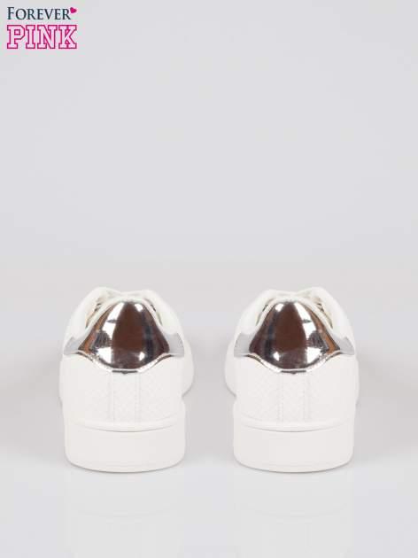 Białe wężowe buty sportowe silver cap toe                                  zdj.                                  3