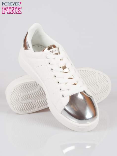 Białe wężowe buty sportowe silver cap toe                                  zdj.                                  4