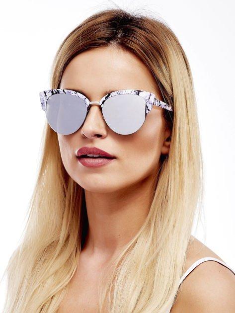 Biało-Czarne Marmurkowe Okulary Przeciwsłoneczne KOCIE OCZY                               zdj.                              1