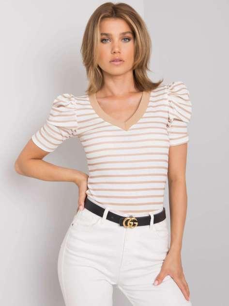 Biało-beżowa bluzka w paski Marlo