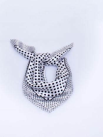 Biało-czarna chusta apaszka w groszki                                  zdj.                                  1