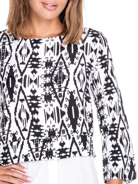 Biało-czarna dwuwarstwowa koszula we wzór ornamentowy                                  zdj.                                  7
