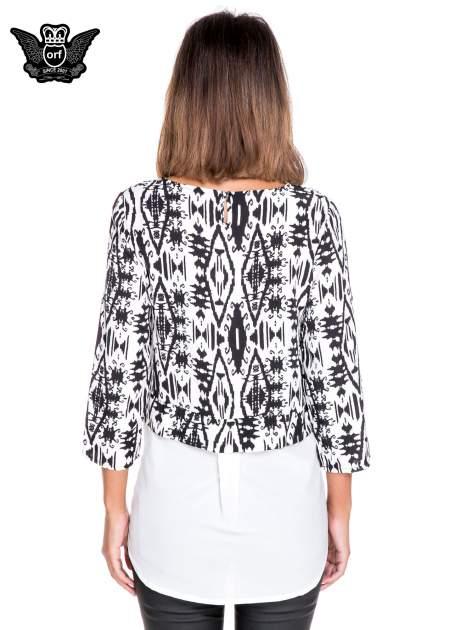 Biało-czarna dwuwarstwowa koszula we wzór ornamentowy                                  zdj.                                  4
