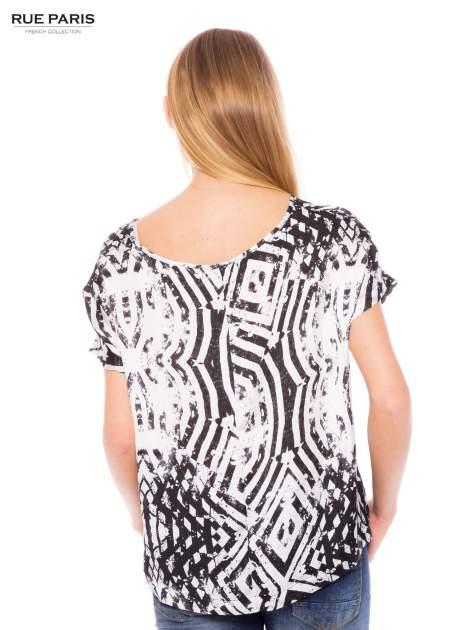 Biało-czarna koszula w geometryczny wzór                                  zdj.                                  4