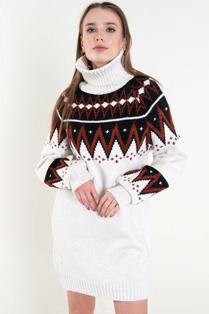 Biało-czarna sukienka dzianinowa BSL