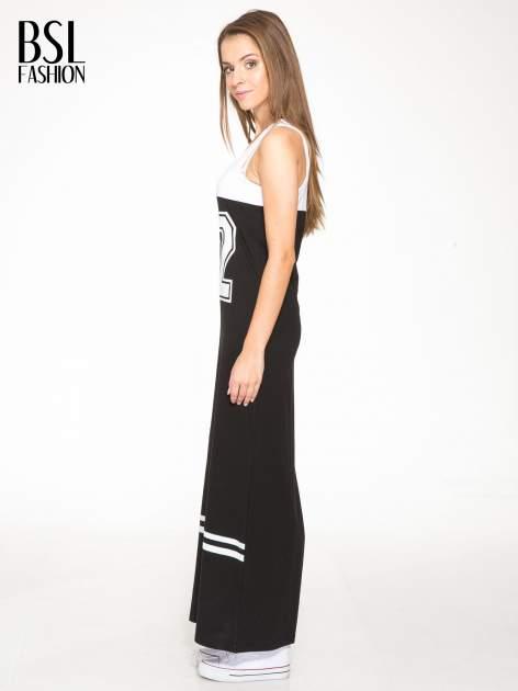 Biało-czarna sukienka maxi z numerem 92 w stylu baseball dress                                  zdj.                                  3