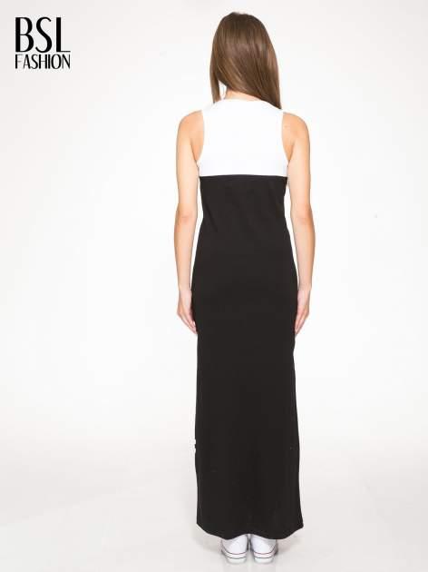 Biało-czarna sukienka maxi z numerem 92 w stylu baseball dress                                  zdj.                                  4