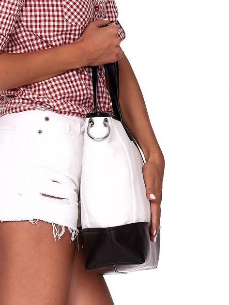 Biało-czarna torba shopper z eko skóry z odpinanym paskiem                              zdj.                              2