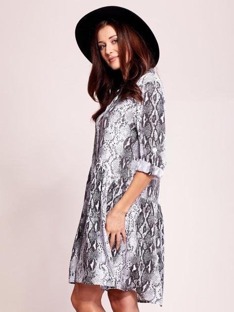 Biało-czarna wzorzysta sukienka na guziki                               zdj.                              3