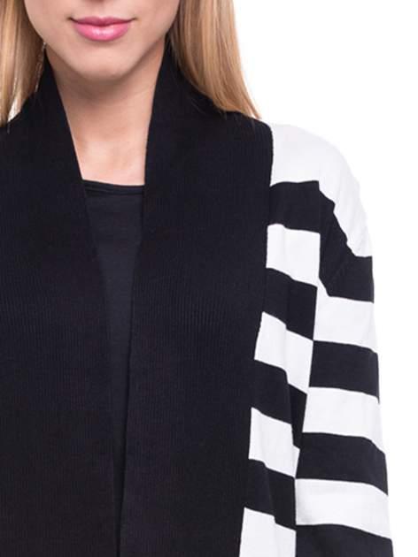 Biało-czarny pasiasty otwarty sweter kardigan z prążkowanym kołnierzem                                  zdj.                                  5