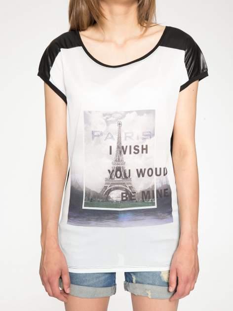 Biało-czarny t-shirt z nadrukiem wieży Eiffla                                   zdj.                                  6