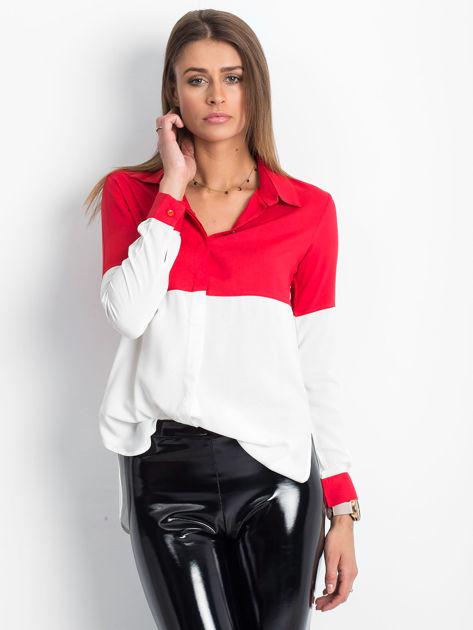 Biało-czerwona koszula damska                              zdj.                              1