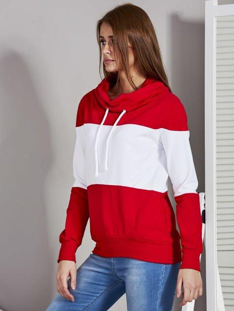 Biało-czerwona modułowa bluza damska z troczkami                              zdj.                              3