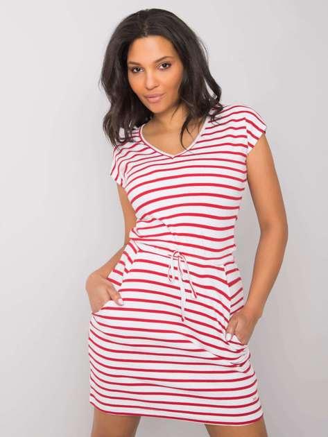 Biało-czerwona sukienka Kaelan NIE ZNASZ MNIE