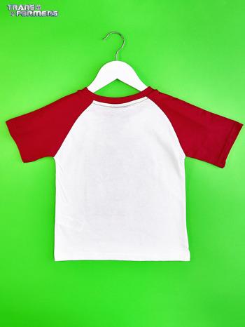 Biało-czerwony t-shirt chłopięcy z nadrukiem TRANSFORMERS                                  zdj.                                  2