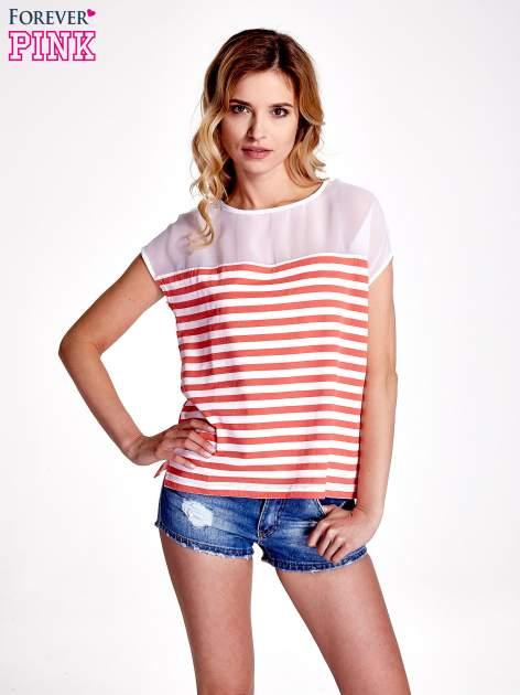 Biało-czerwony t-shirt z tiulowym wykończeniem                                  zdj.                                  1
