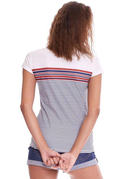 Biało-granatowy t-shirt w paski                              zdj.                              2