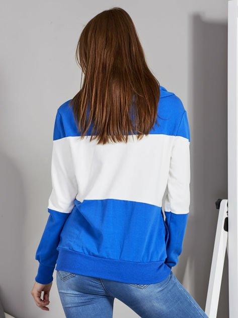 Biało-niebieska modułowa bluza damska z troczkami                              zdj.                              2