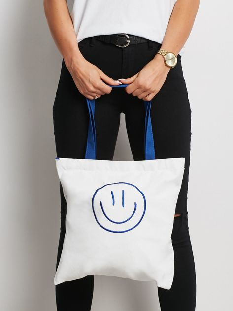 Biało-niebieska torba materiałowa z haftem                              zdj.                              1