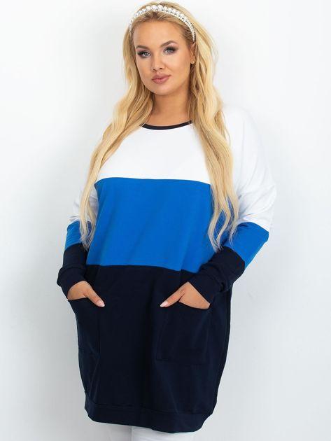 Biało-niebieska tunika plus size Bease                              zdj.                              1