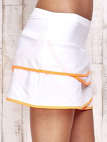 Biało-pomarańczowe spodenki spódniczka tenisowa z falbankami                                  zdj.                                  5