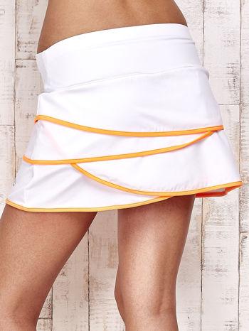 Biało-pomarańczowe spodenki spódniczka tenisowa z falbankami                                  zdj.                                  6