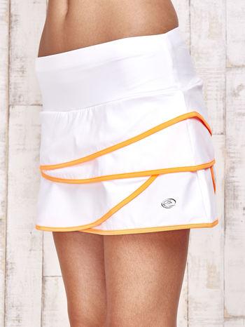 Biało-pomarańczowe spodenki spódniczka tenisowa z falbankami                                  zdj.                                  7