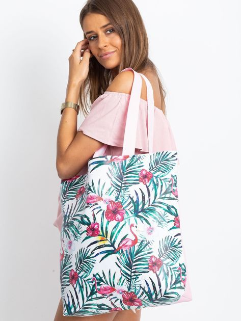 Biało-różowa torba z nadrukiem                              zdj.                              8