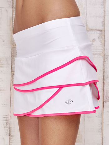 Biało-różowe spodenki spódniczka tenisowa z falbankami                                  zdj.                                  7