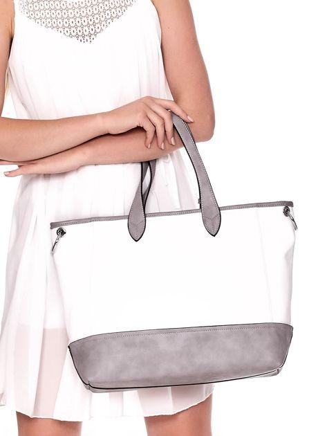 Biało-szara torba shopper z eko skóry z odpinanym paskiem                              zdj.                              5