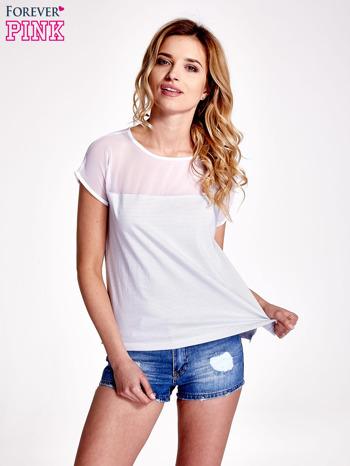 Biało-szary t-shirt z tiulowym wykończeniem                                  zdj.                                  1
