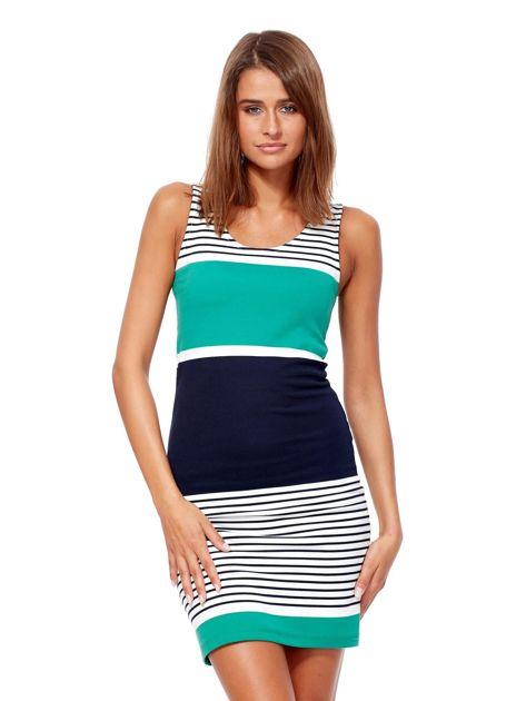 Biało-zielona dopasowana sukienka w paski                               zdj.                              1
