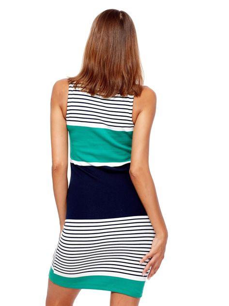 Biało-zielona dopasowana sukienka w paski                               zdj.                              2