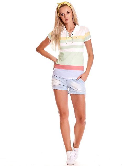Biało-zielona koszulka polo w paski                              zdj.                              4