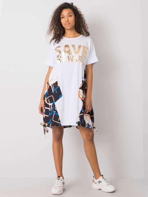 Biało-złota sukienka z napisem Ebba