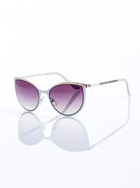 """Biało-złote okulary przeciwsłoneczne w stylu """"KOCIE OCZY"""""""