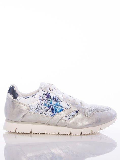 Białoperłowe buty sportowe Vinceza z kwiatowym motywem na boku cholewki                                  zdj.                                  1