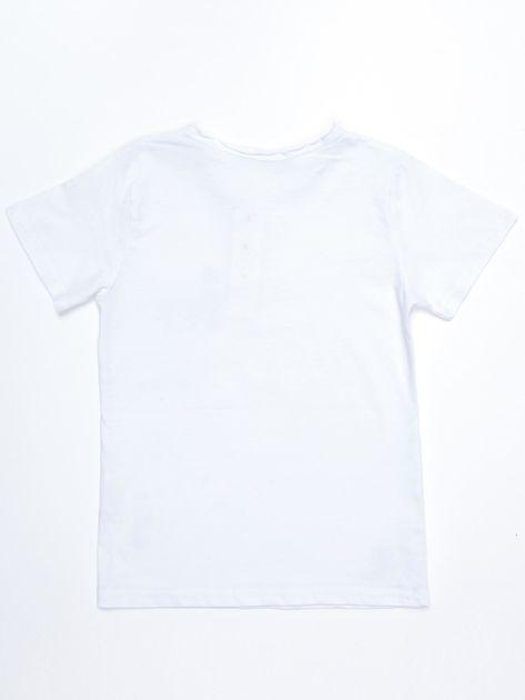 Biały bawełniany t-shirt dziecięcy z nadrukiem aparatu                              zdj.                              2