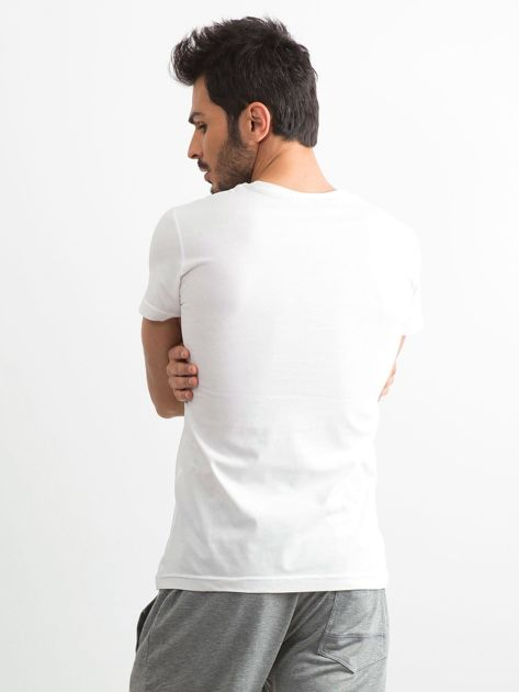 Biały bawełniany t-shirt męski z printem                              zdj.                              2