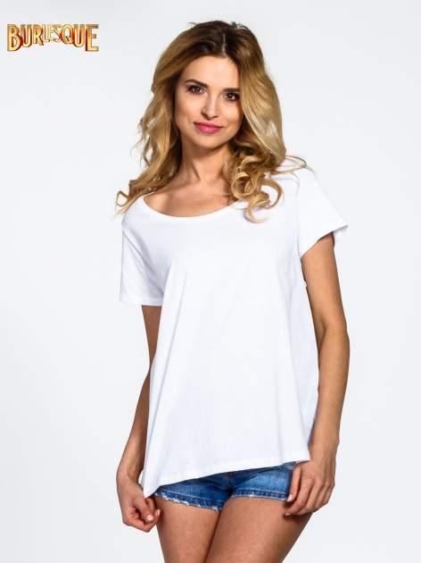 Biały gładki t-shirt z okrągłym dekoltem                                  zdj.                                  1