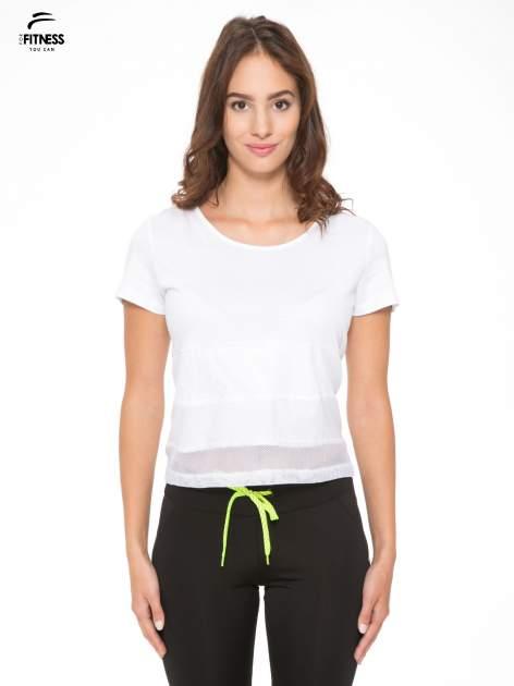 Biały gładki t-shirt z przeszyciami na dole                                  zdj.                                  1