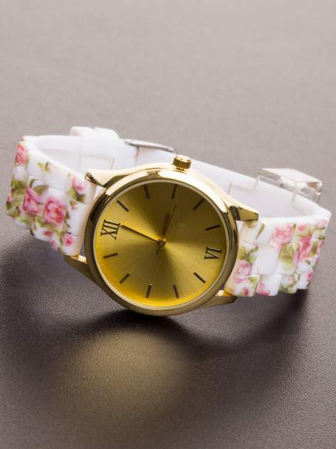 Biały kwiatowy zegarek damski ze złotą tarcżą                                  zdj.                                  3
