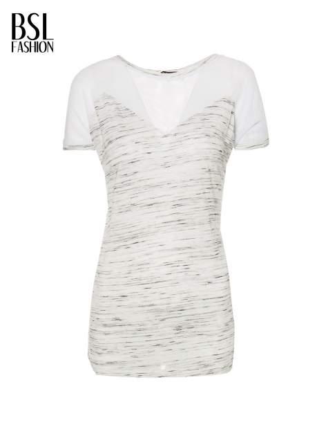 Biały melanżowy t-shirt z transparentną górą                                  zdj.                                  2