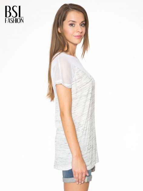 Biały melanżowy t-shirt z transparentną górą                                  zdj.                                  3