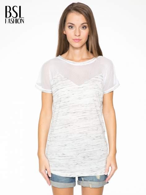 Biały melanżowy t-shirt z transparentną górą