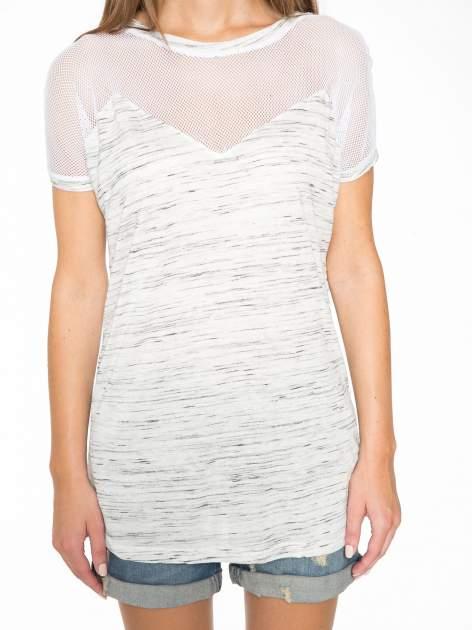 Biały melanżowy t-shirt z transparentną górą                                  zdj.                                  8