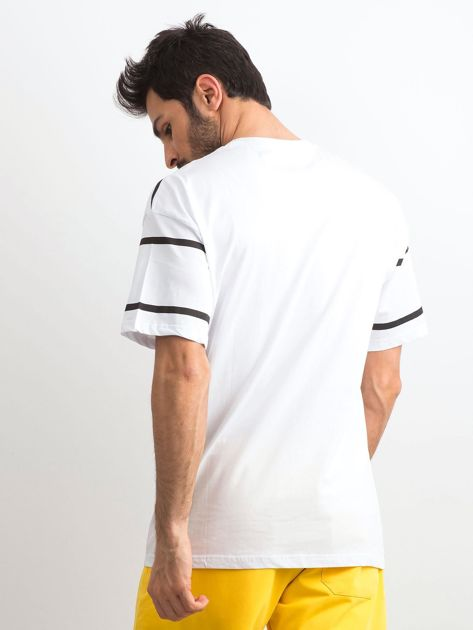 Biały męski t-shirt w paski                              zdj.                              2