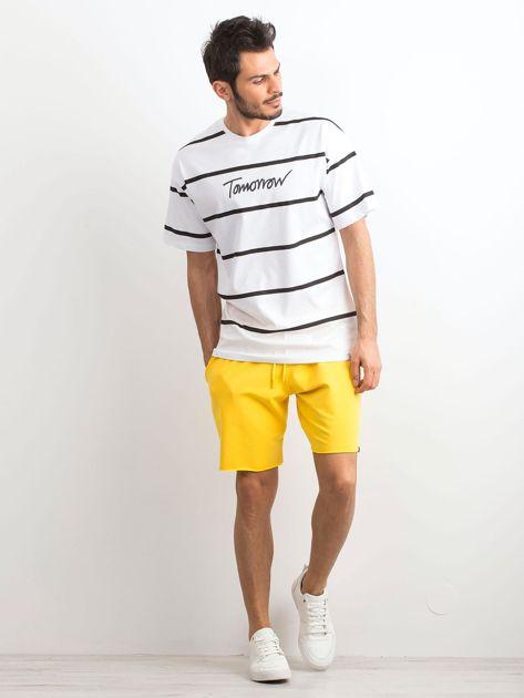 Biały męski t-shirt w paski                              zdj.                              4