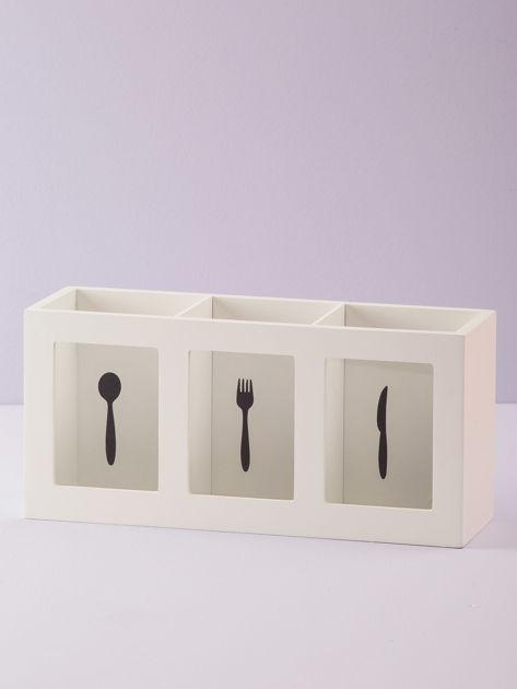 Biały podłużny pojemnik na sztućce                              zdj.                              2